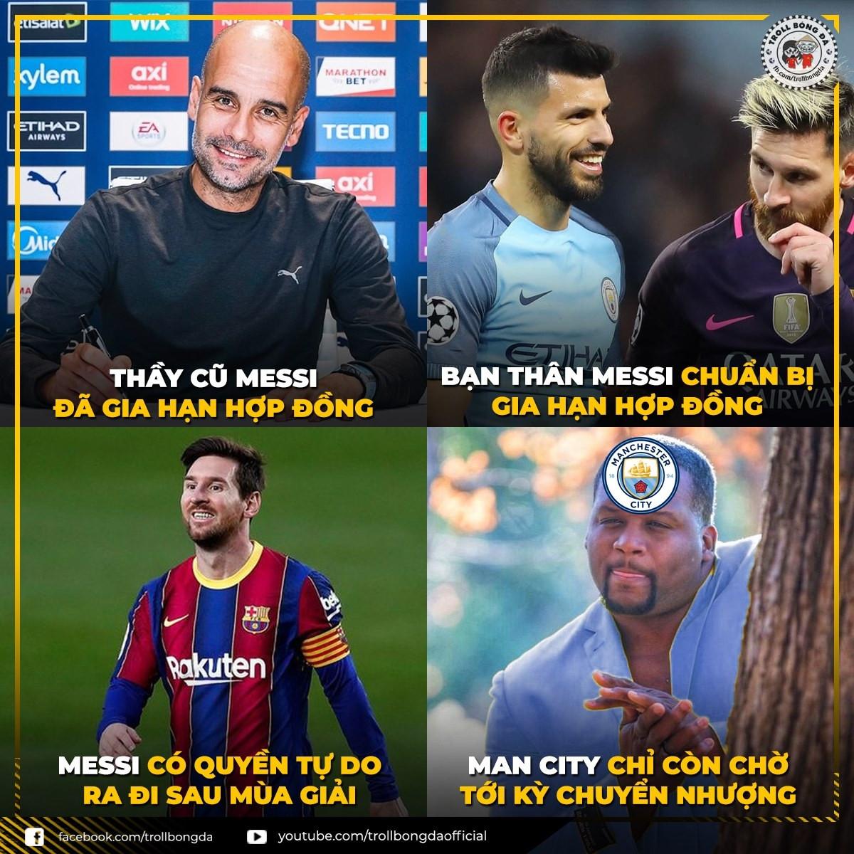 HLV Guardiola gia hạn hợp đồng với Man City, háo hức chờ Messi đến nước Anh. (Ảnh: Troll Bóng đá).