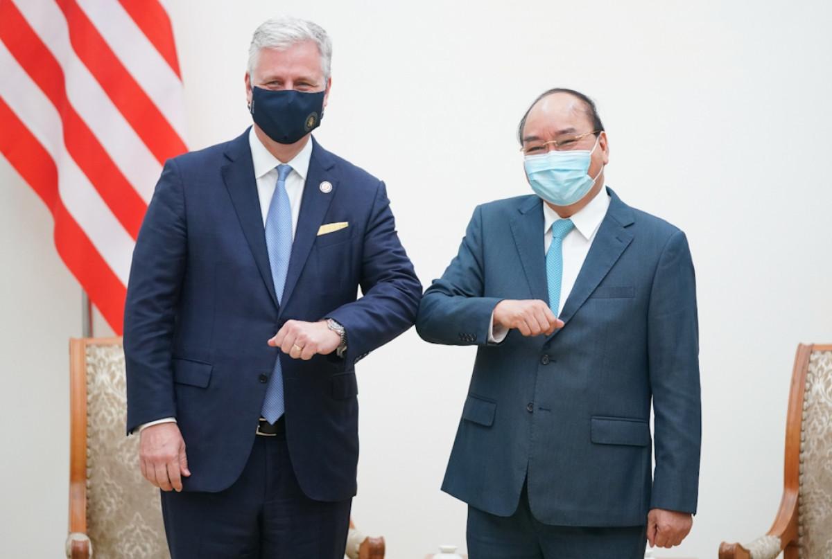 Thủ tướng Chính phủ Nguyễn Xuân Phúc tiếp xã giao Cố vấn An ninh quốc gia Hoa Kỳ Robert O'Brien.