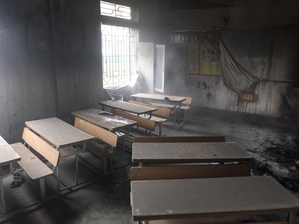 Phòng học nơi xảy ra đám cháy.