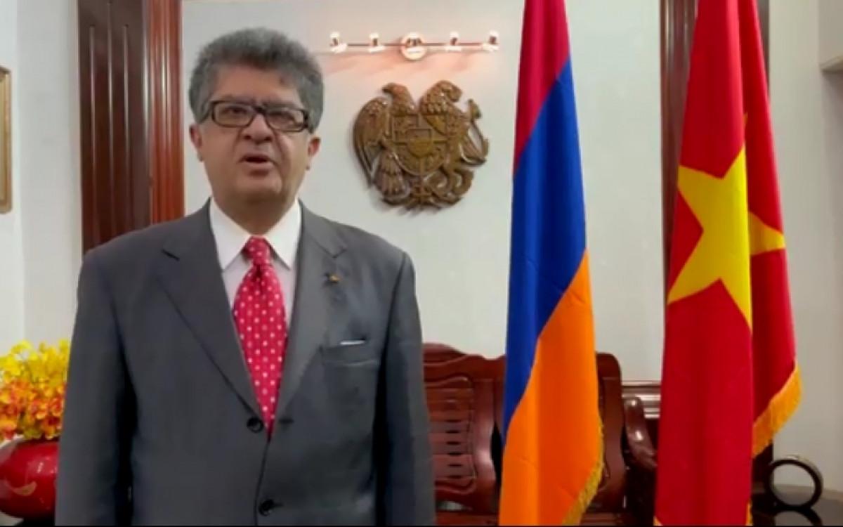 Đại sứ Armenia Kozhoyan phát biểu về các thành tựu của Việt Nam, trong một clip gửi riêng cho Báo điện tử VOV vào tháng 2/2021.