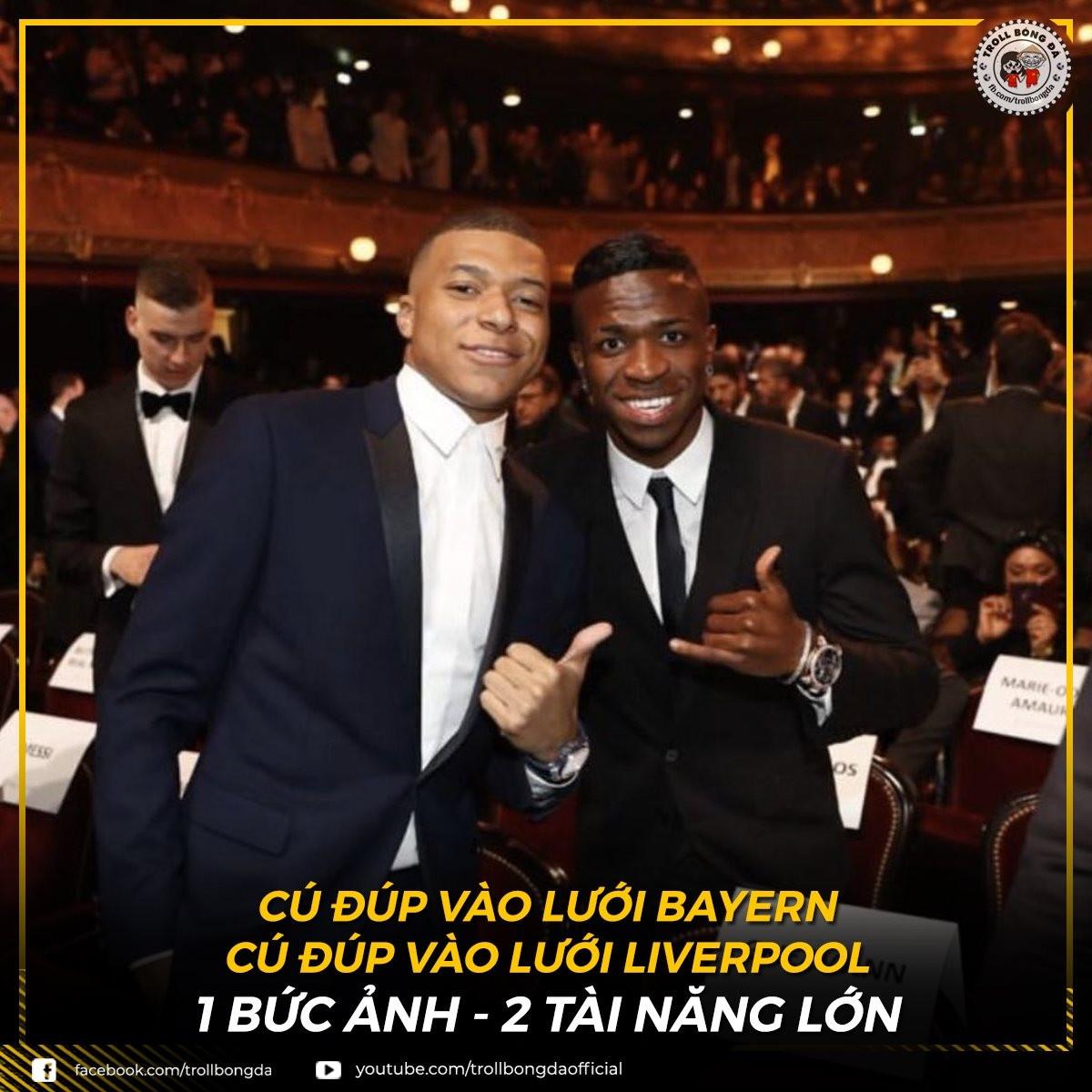 Mbappe và Vinicius, 2 cầu thủ tỏa sáng nhất loạt trận tứ kết lượt đi Champions League. (Ảnh: Troll bóng đá).