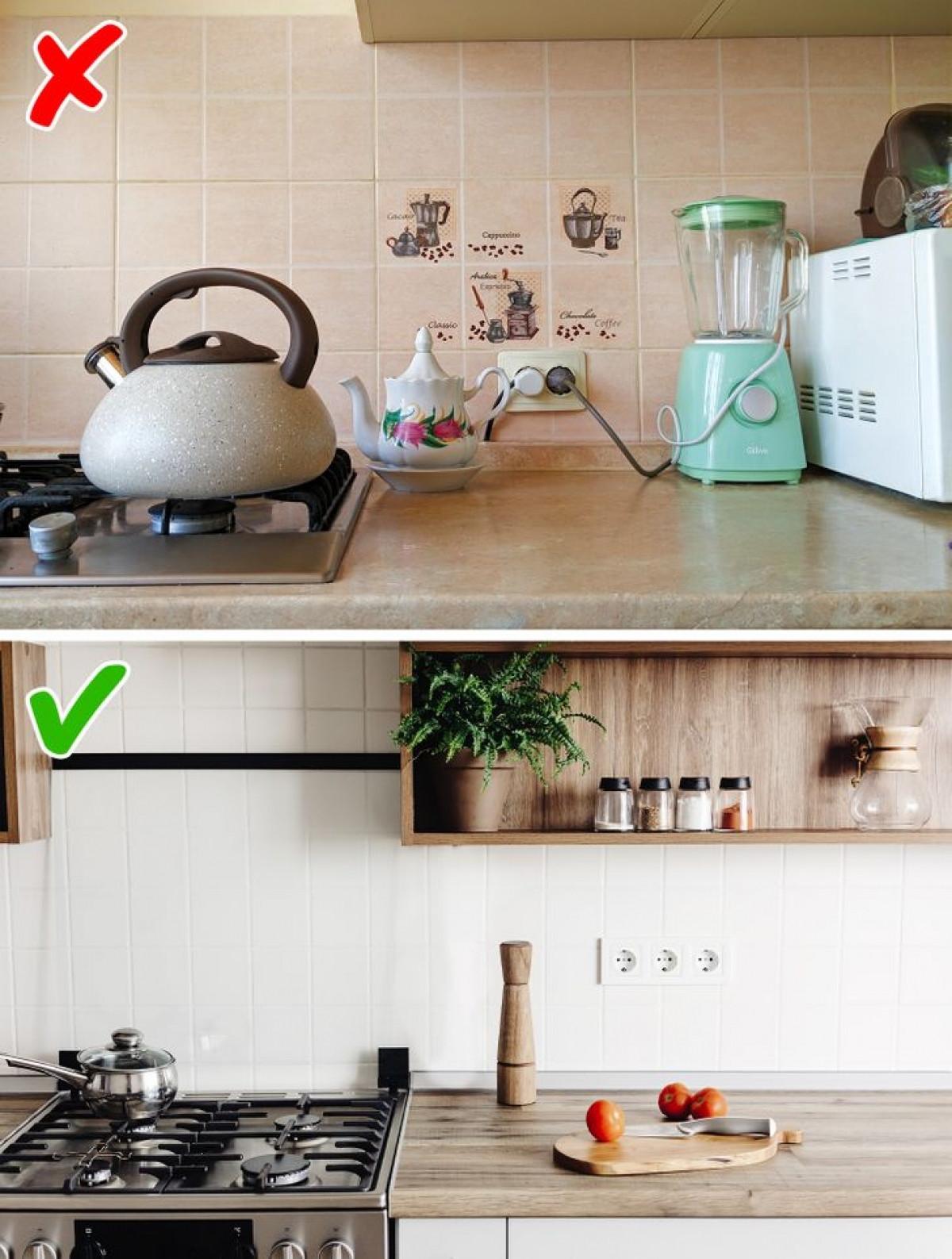 Ổ cắm điện: Bạn cần quan tâm đến nơi lắp các thiết bị ổ cắm cho phù hợp với không gian bếp, đồng thời lựa chọn kiểu dáng, màu sắc ổ cắm hài hoà với không gian bếp. Nếu có thể, hãy cài đặt các ổ cắm ẩn để có căn bếp sang trọng, hiện đại.