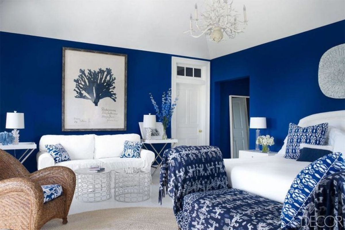 Xanh lam: Màu xanh tươi mát gợi nhớ đến thủy cung, biển làm dịu mát cho mùa hè. Màu xanh không quá rực rỡ nhưng lại vô cùng bắt mắt. Khi kết hợp với đồ trang trí màu trắng sẽ làm nổi bật hơn cho không gian.