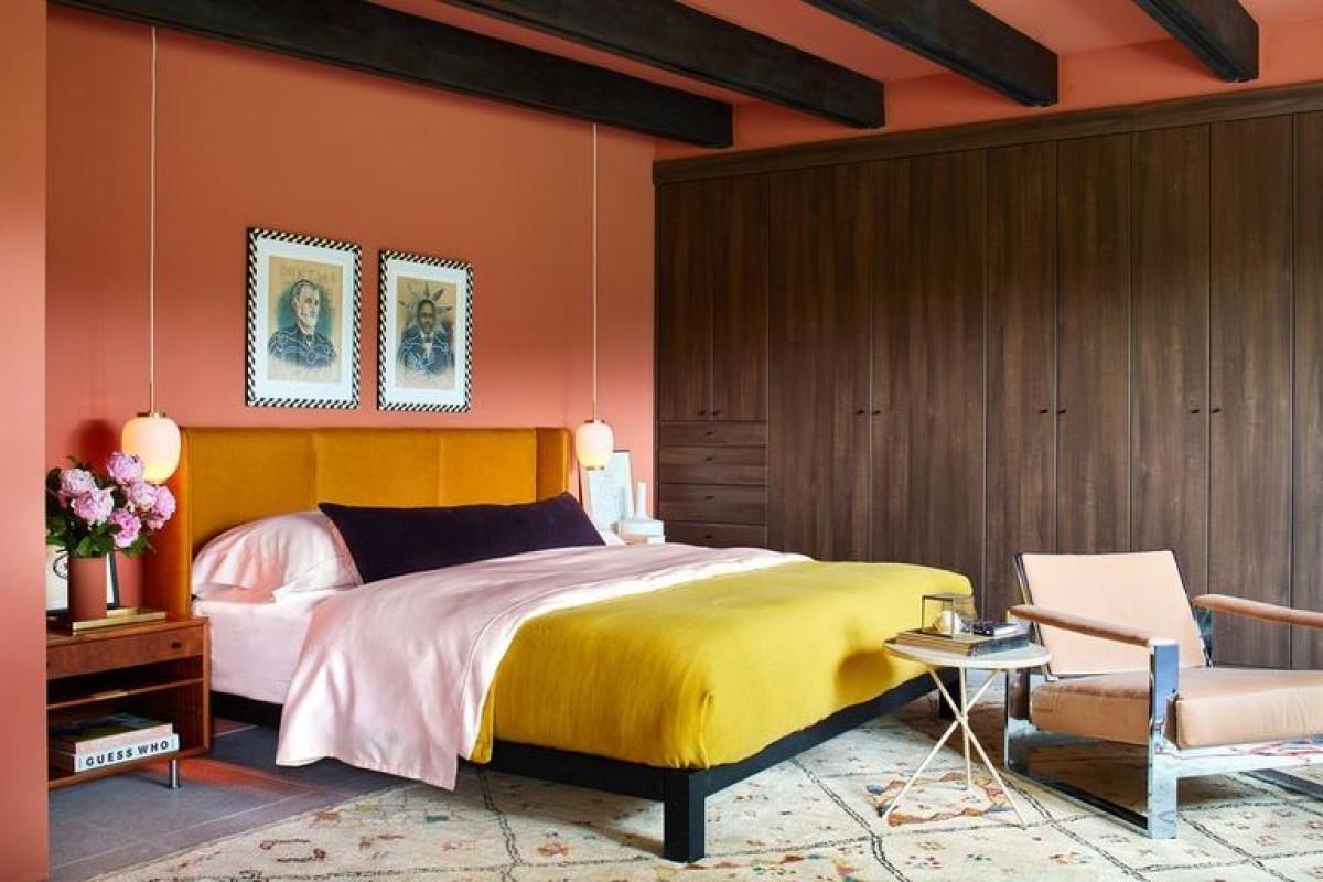 Màu cam đất:Sử dụng màu sắc phong phú để khiến không gian mở trở nên ấm cúng hơn hoặc tạo chiều sâu cho căn phòng với bức tường là điểm nhấn.