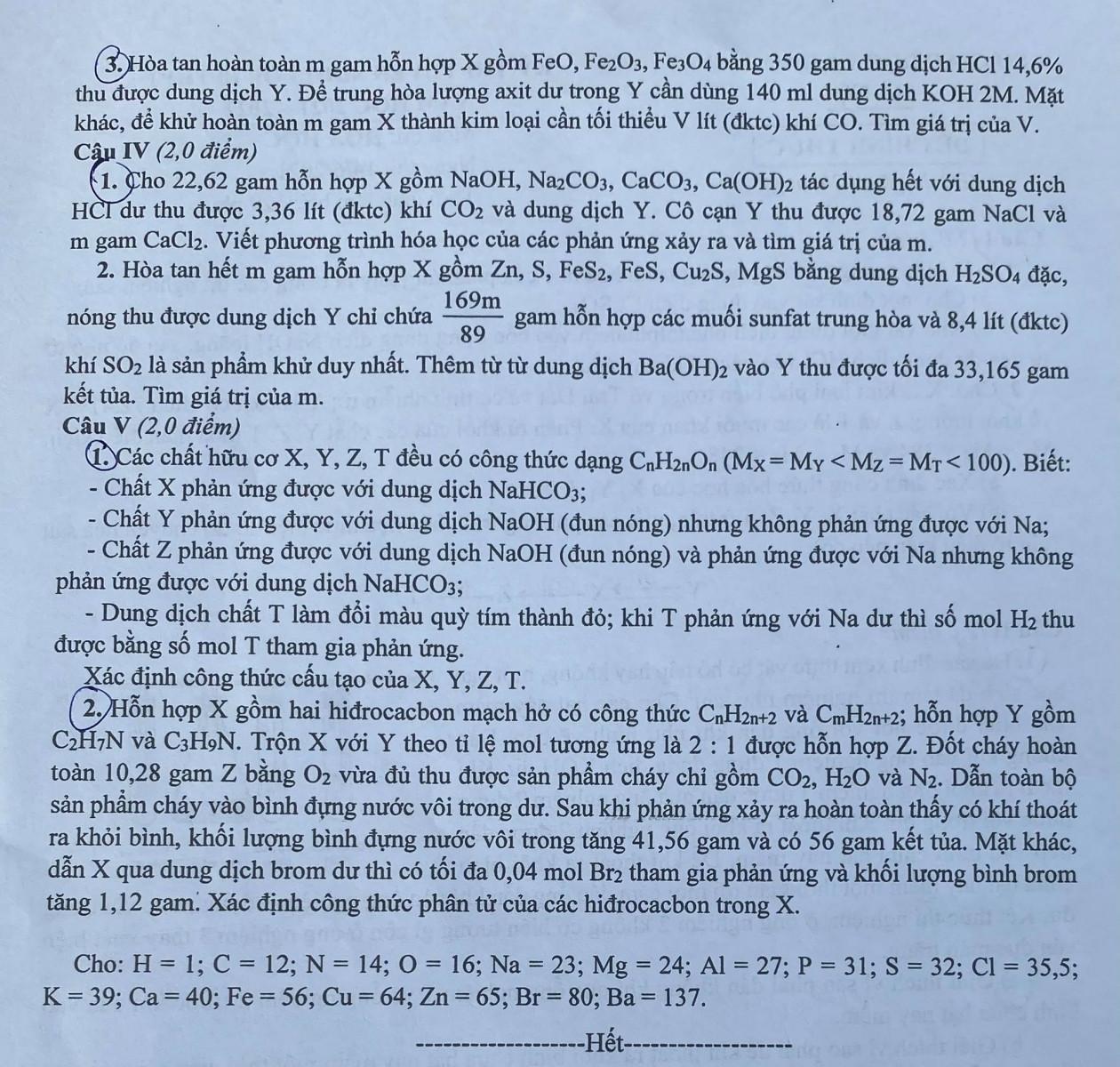 Đề môn Hoá thi vào lớp 10 trường chuyên của Hà Nội - 2