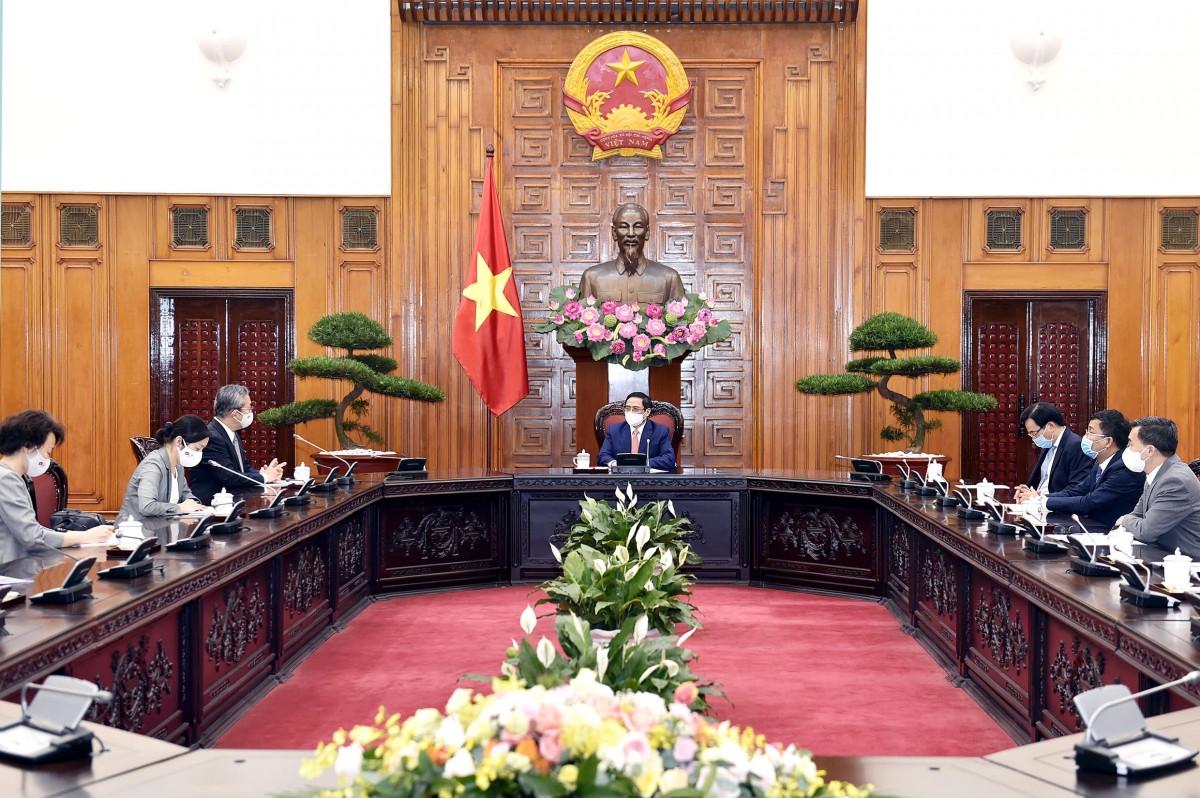 Toàn cảnh buổi tiếp đón của Thủ tướng Chính phủ Phạm Minh Chính với Thủ tướng Nhật Bản Suga Yoshihide
