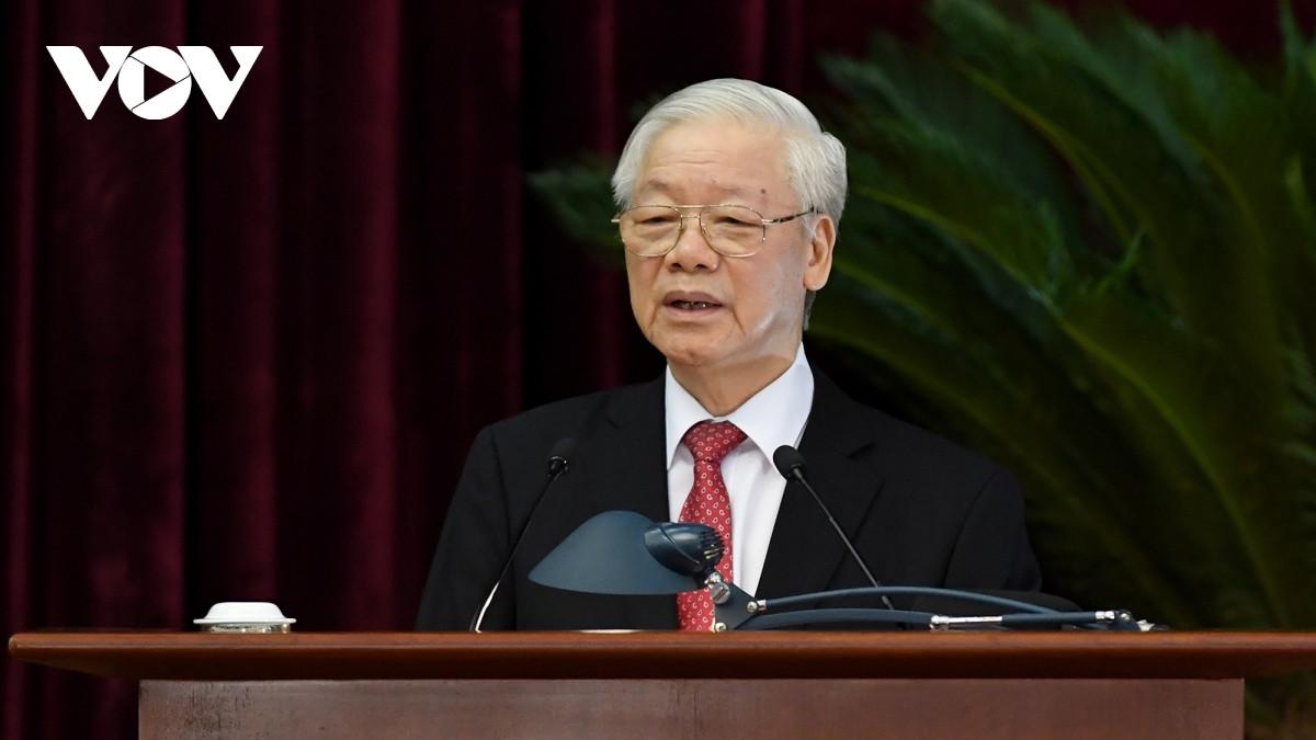 Tổng Bí thư Nguyễn Phú Trọng chủ trì, phát biểu bế mạc Hội nghị Trung ương 3, khóa XIII.