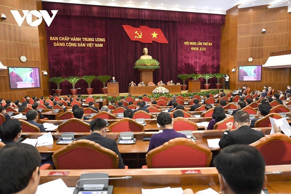 Hội nghị Trung ương 3 khóa XIII. (Ảnh: Ngọc Thành)