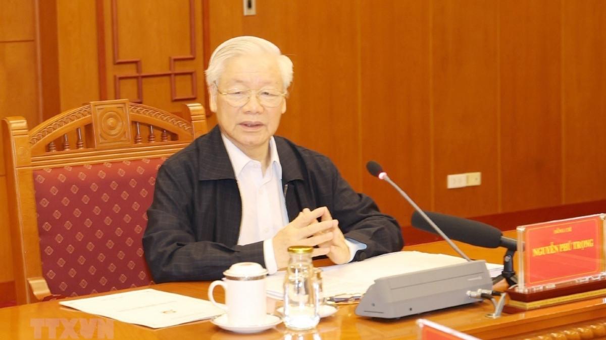 Tổng Bí thư Nguyễn Phú Trọng chủ trị một cuộc họp của Ban Chỉ đạo Trung ương về phòng, chống tham nhũng