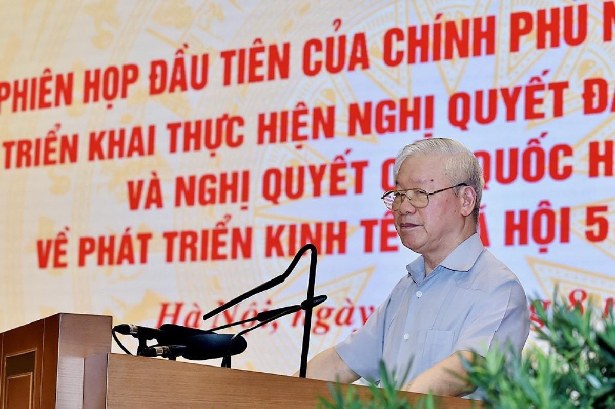 Tổng Bí thư Nguyễn Phú Trọng phát biểu chỉ đạo tại phiên họp toàn quốc đầu tiên của Chính phủ nhiệm kỳ 2021-2026.